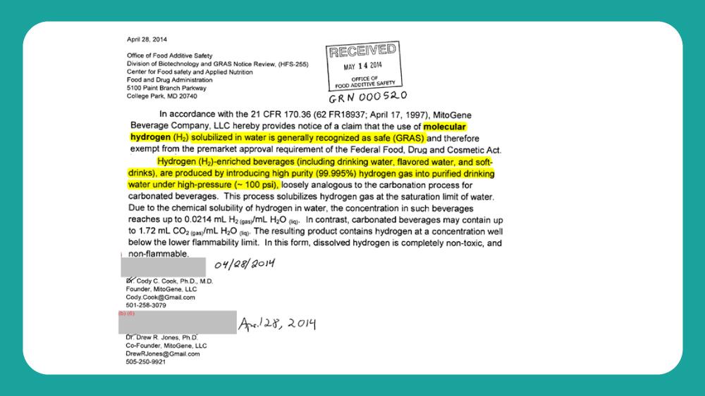 FDA2014針對氫氣加入水的回函